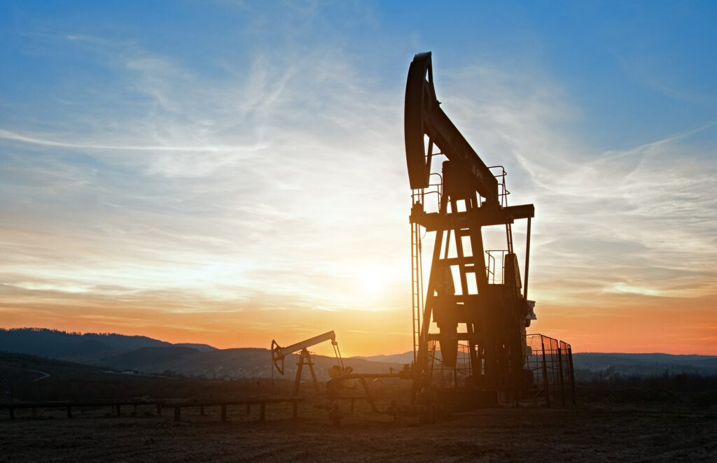 Oil rocking at sunset